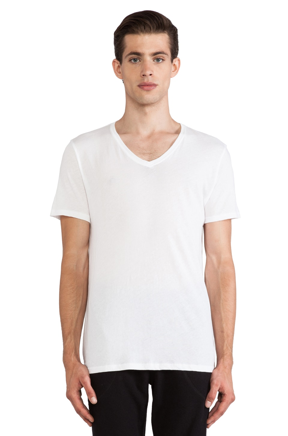 ATM Anthony Thomas Melillo Vintage V-Neck in White
