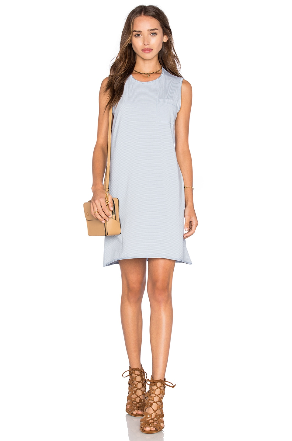 ATM Anthony Thomas Melillo Pocket Tank Dress in Powder Blue & White