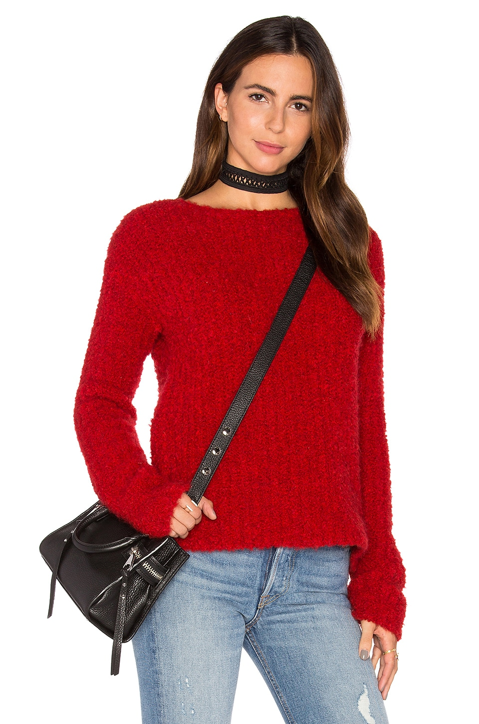 ATM Anthony Thomas Melillo Crew Neck Sweater in Hollyberry