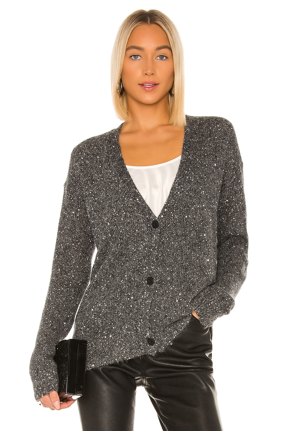 ATM Anthony Thomas Melillo Sequin V Neck Cardigan in Charcoal & Silver