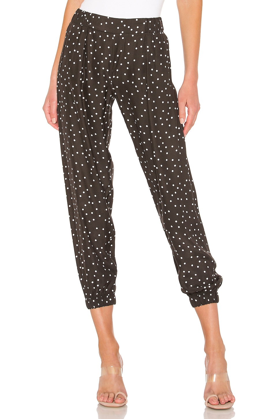 ATM Anthony Thomas Melillo Polka Dot Silk Pant in Pavement Combo