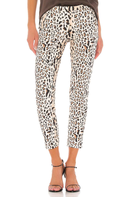 ATM Anthony Thomas Melillo Leopard Print Cotton Slim Pant in Camel & Black Combo