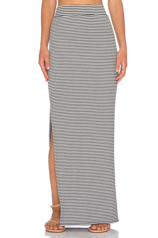 ATM Anthony Thomas Melillo Striped Side Slit Maxi Skirt in Black & Snow Stripe Combo