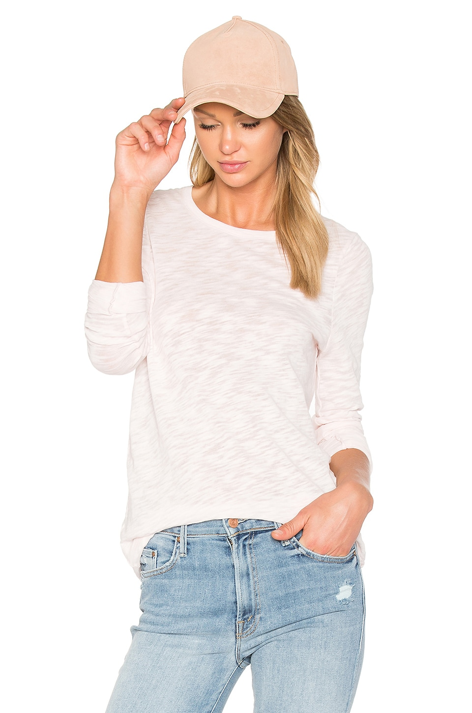 ATM Anthony Thomas Melillo Long Sleeve Destroyed Wash Tee in English Rose