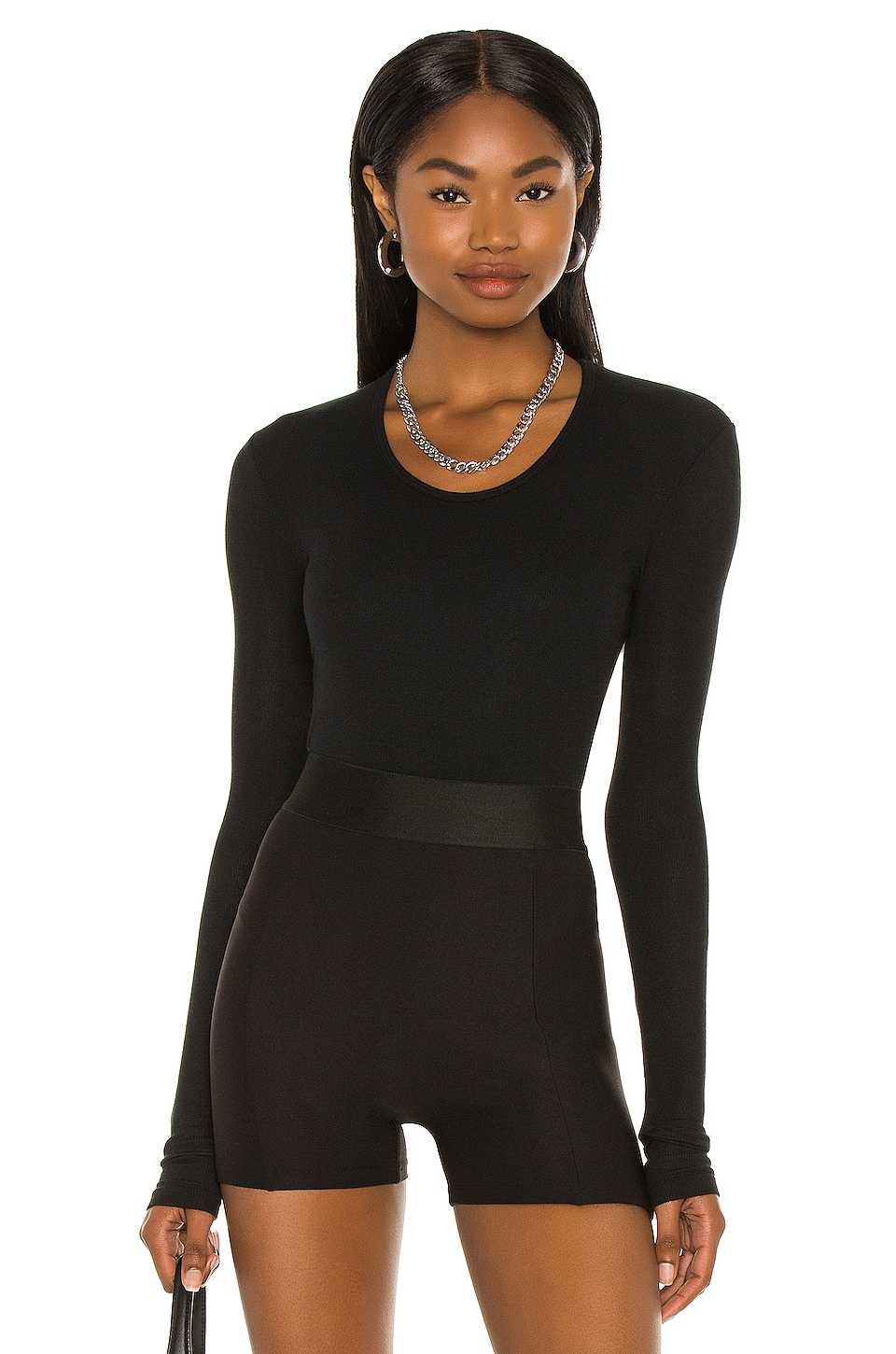 ATM Anthony Thomas Melillo Rib U Neck Bodysuit in Black