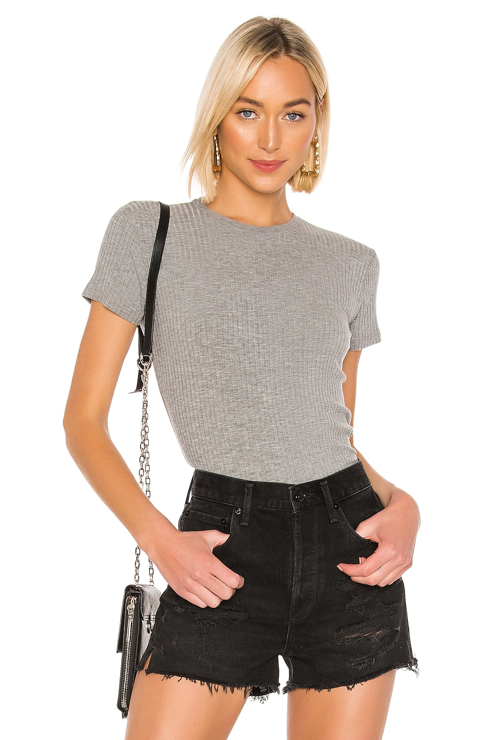 ATM Anthony Thomas Melillo Wide Rib Cap Sleeve Top en Heather Grey