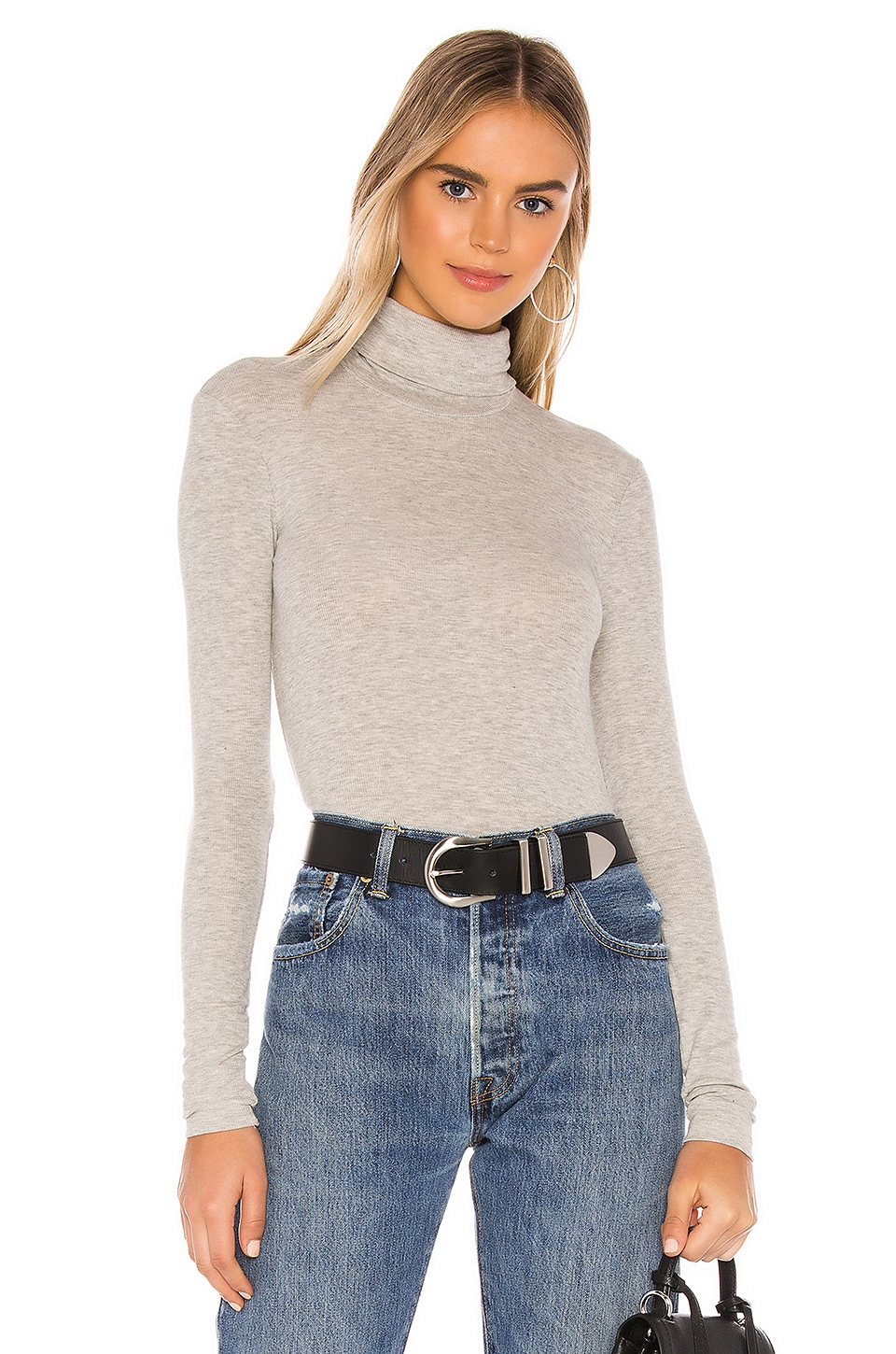 ATM Anthony Thomas Melillo Micro Modal Rib Turtleneck Top in Heather Grey