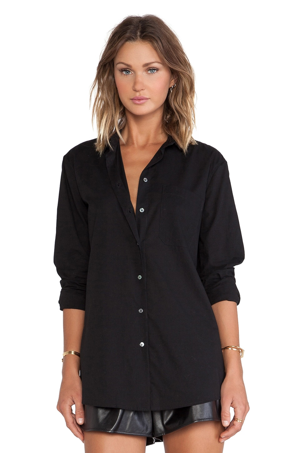 ATM Anthony Thomas Melillo Boyfriend Oversized Dress Shirt in Black