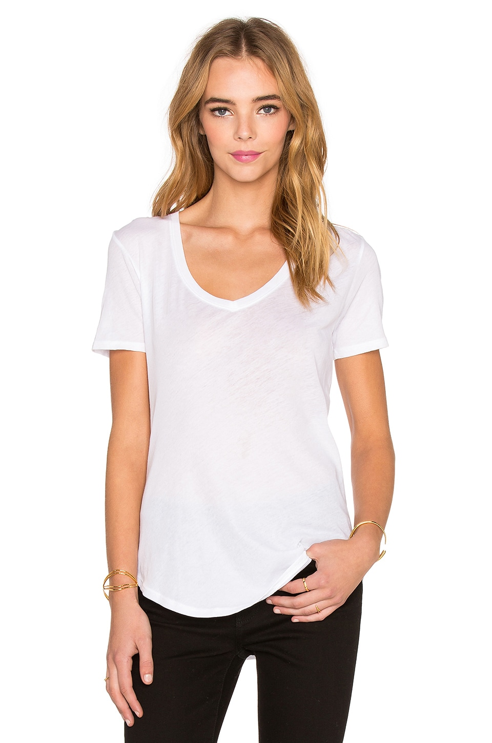 ATM Anthony Thomas Melillo V Neck Tee in White