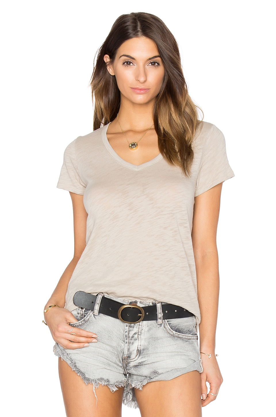 ATM Anthony Thomas Melillo Schoolboy V Neck Tee in Dust