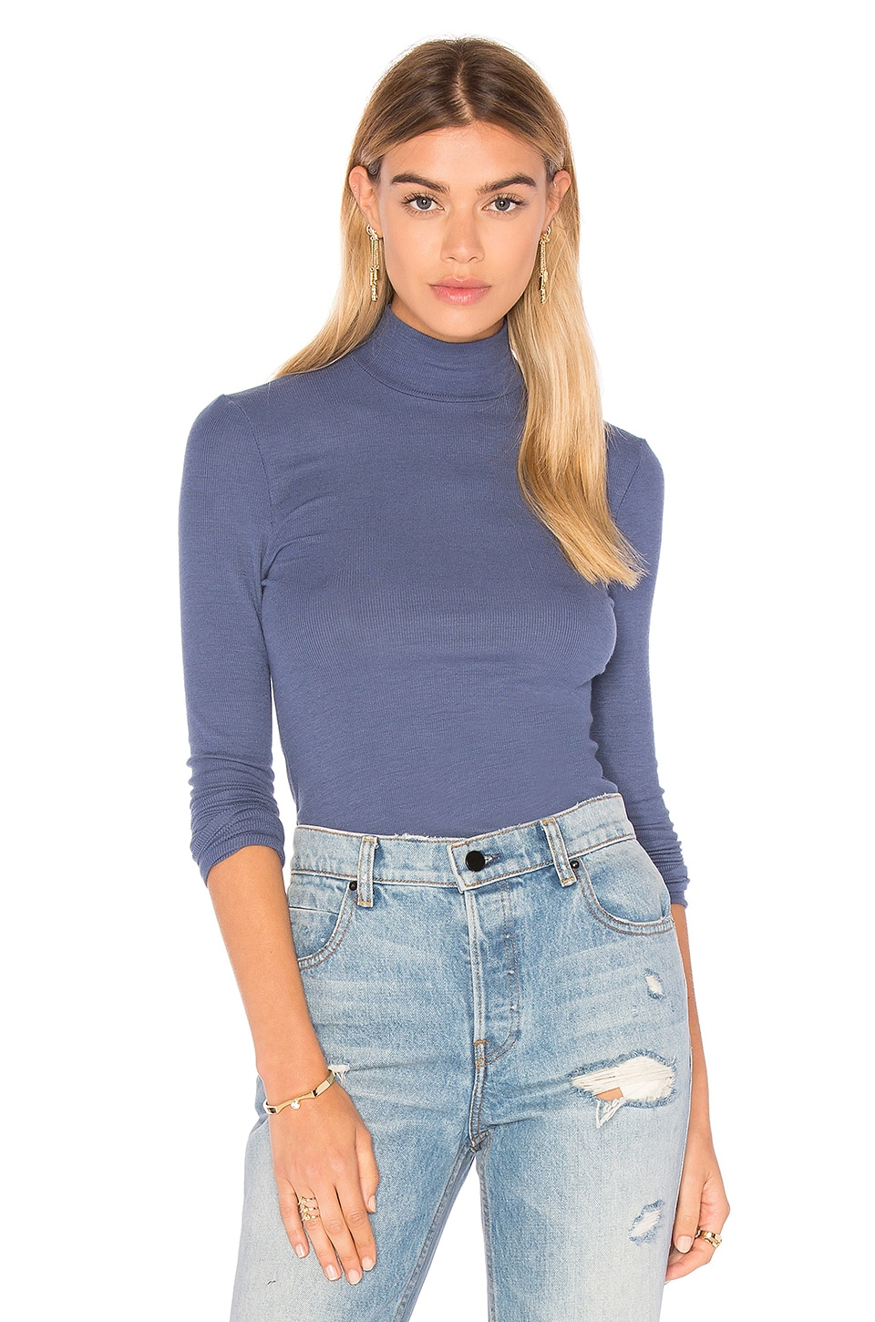 Long Sleeve Micro Modal Mock Neck Top by ATM Anthony Thomas Melillo