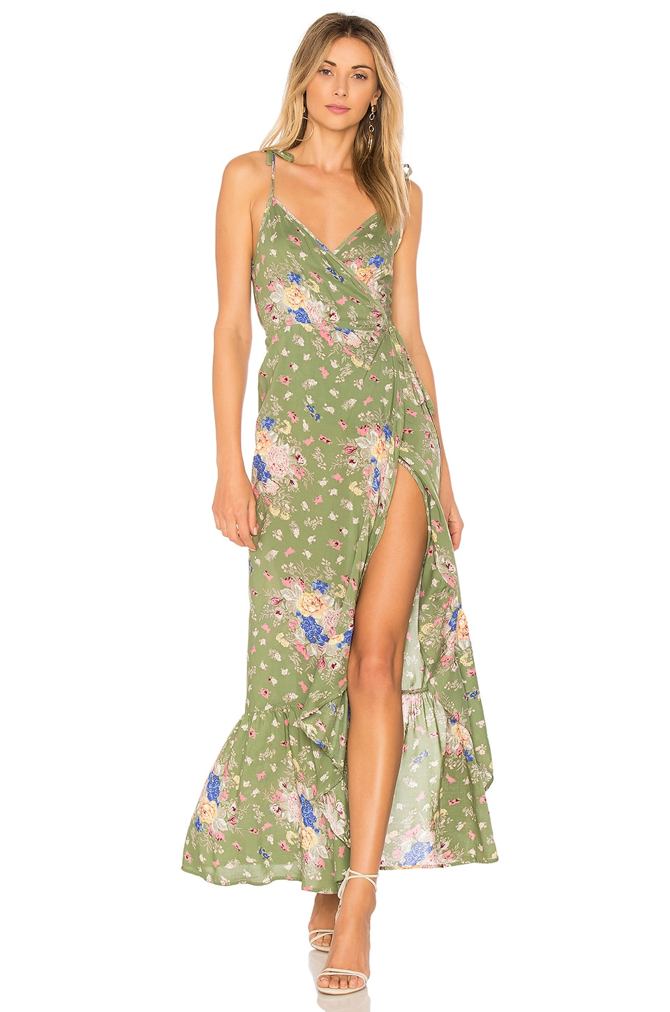 AUGUSTE Eve Market Wrap Maxi Dress in Olive
