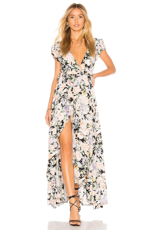 AUGUSTE Gardenia Goldie Wrap Maxi Dress in Charcoal