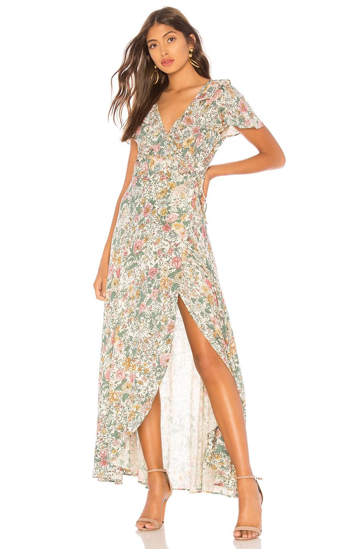 AUGUSTE Spring Rose Wrap Maxi Dress in Cream