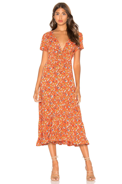 AUGUSTE Agnes Fleur Midi Dress in Rust