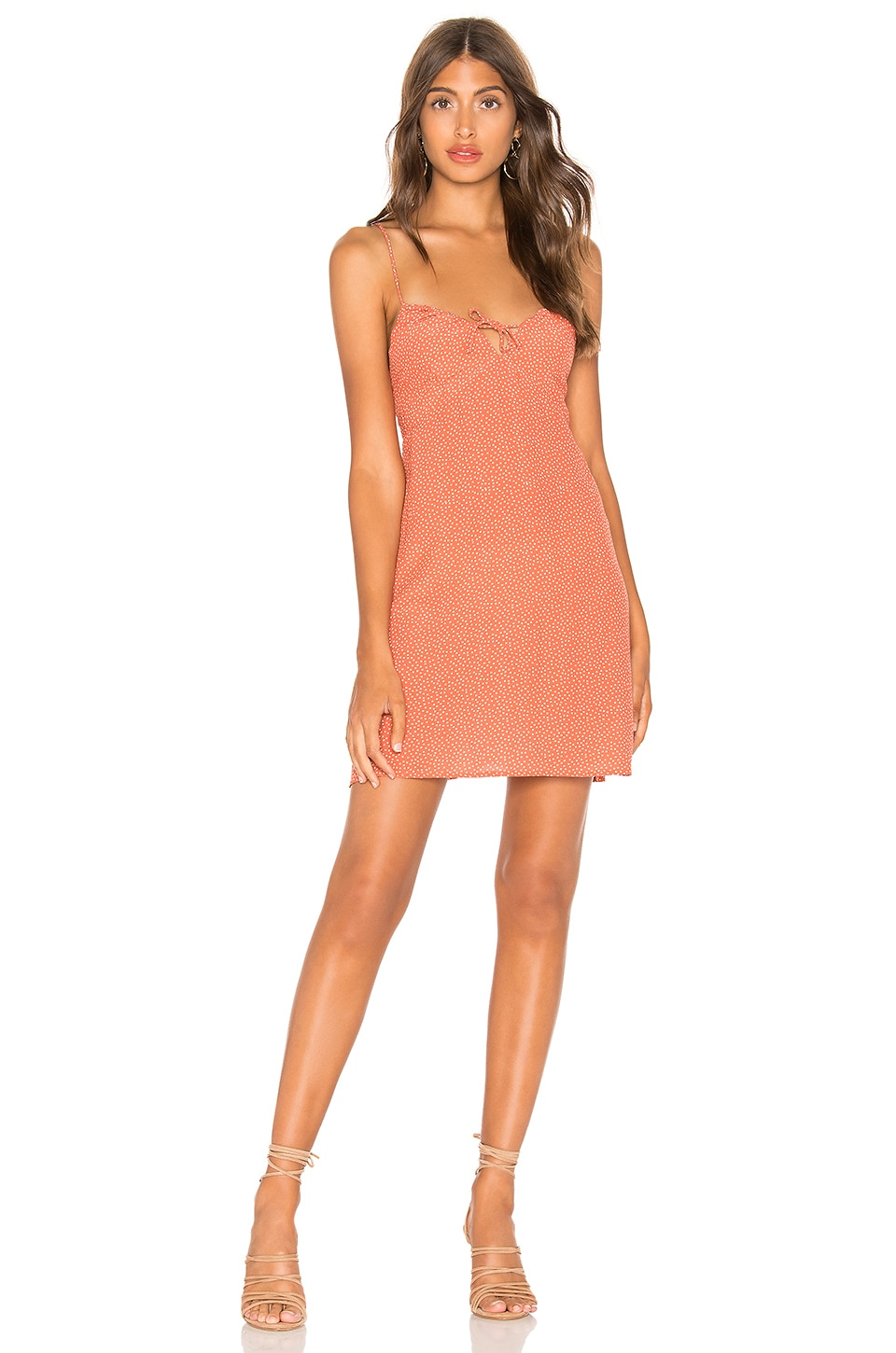 AUGUSTE Florence Tie Slip Mini Dress in Rust