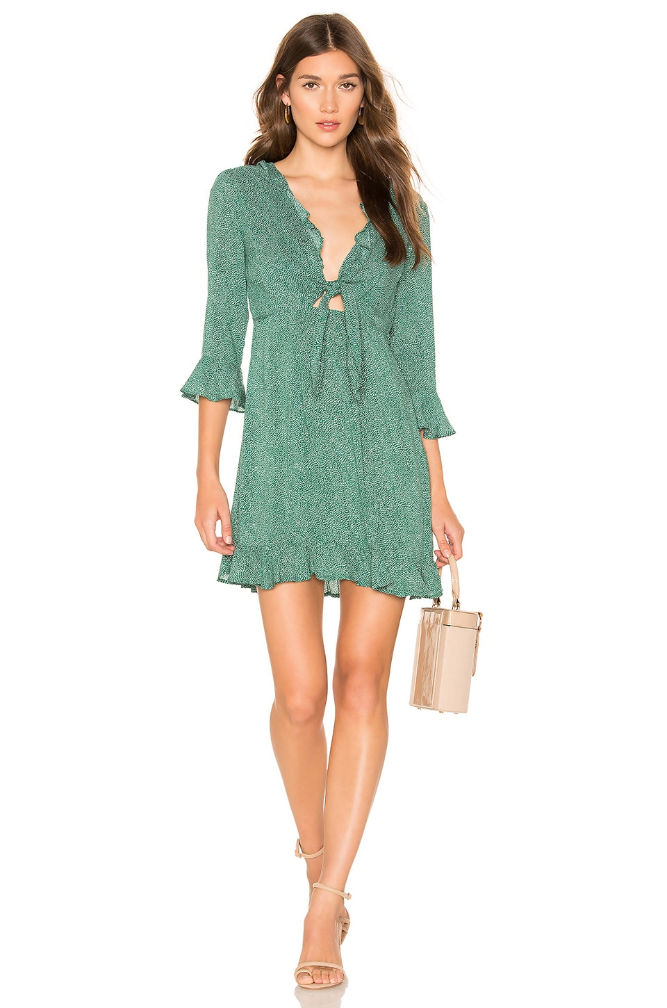 AUGUSTE Diamond Rumba Sleeved Mini Dress in Green
