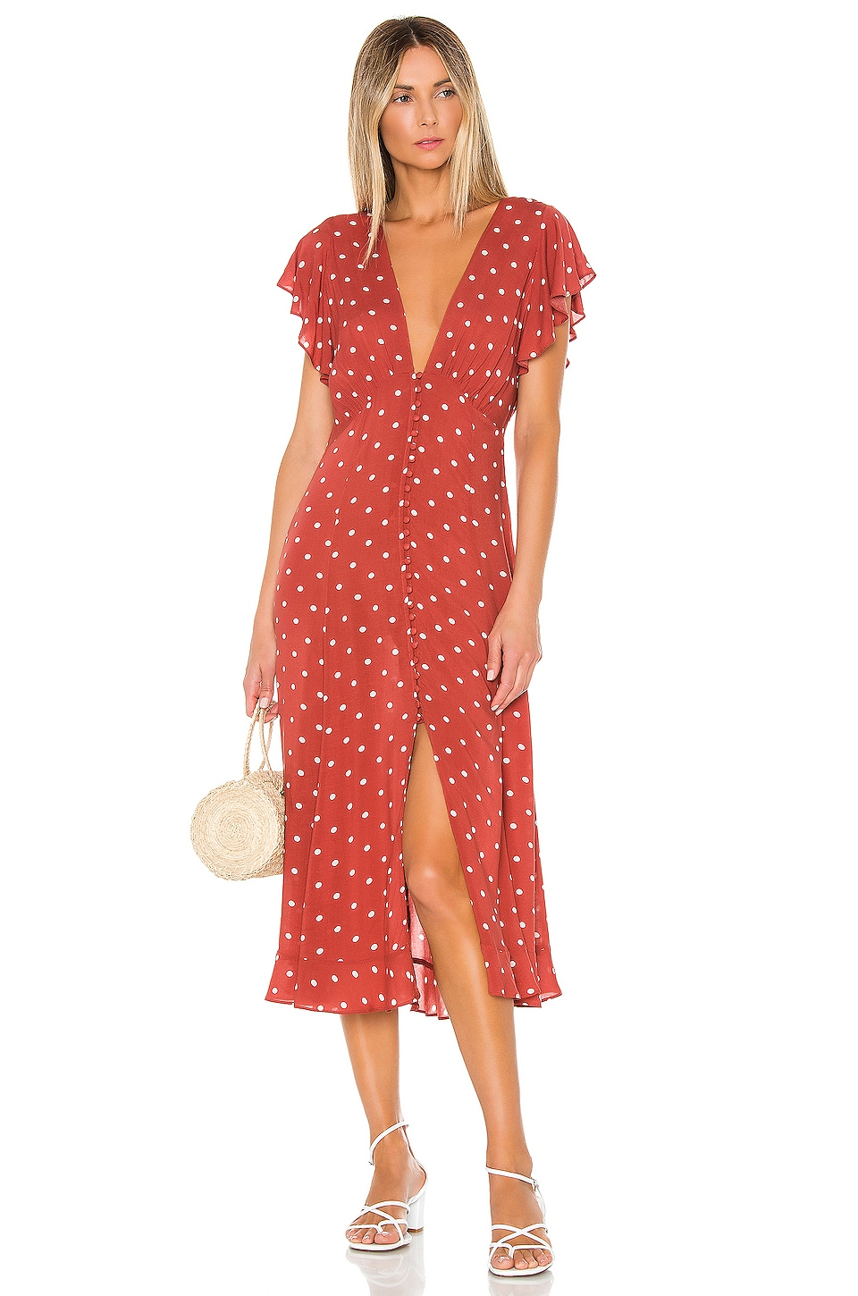 AUGUSTE Polly Sunday Midi Dress in Red