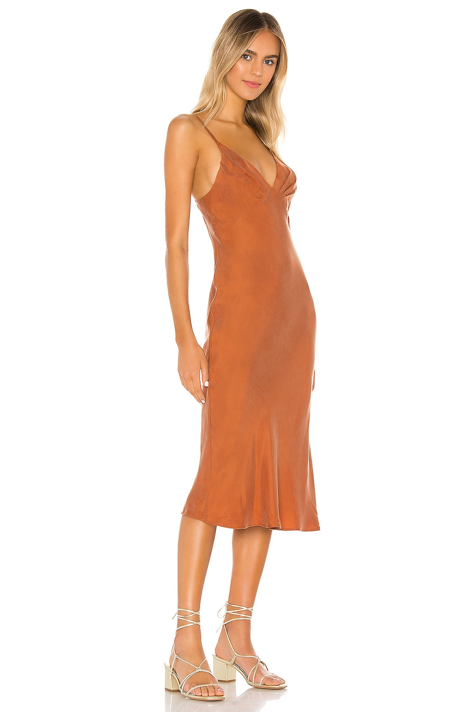 AUGUSTE Keepsake Midi Dress in Rust
