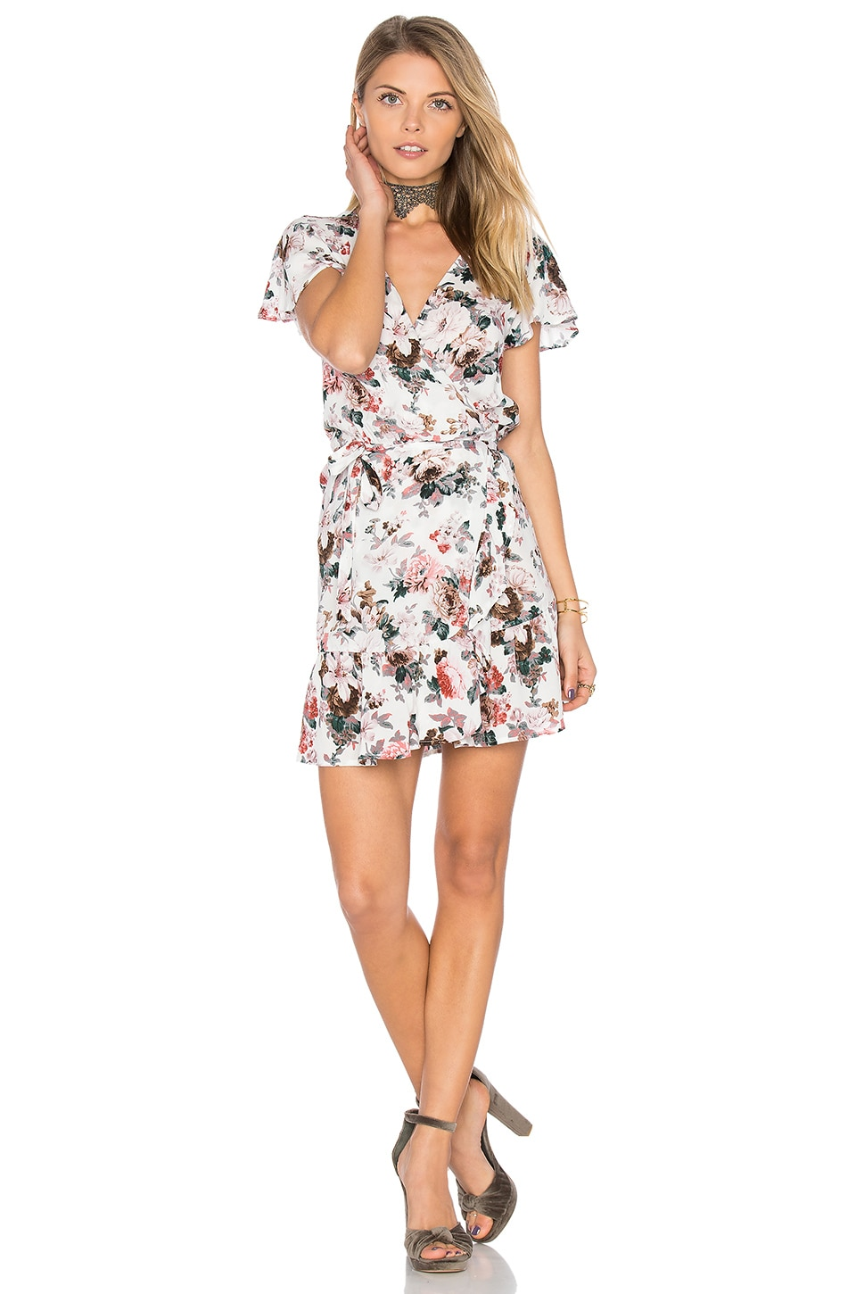 AUGUSTE Frill Wrap Mini Dress in Dusky Blooms Natural