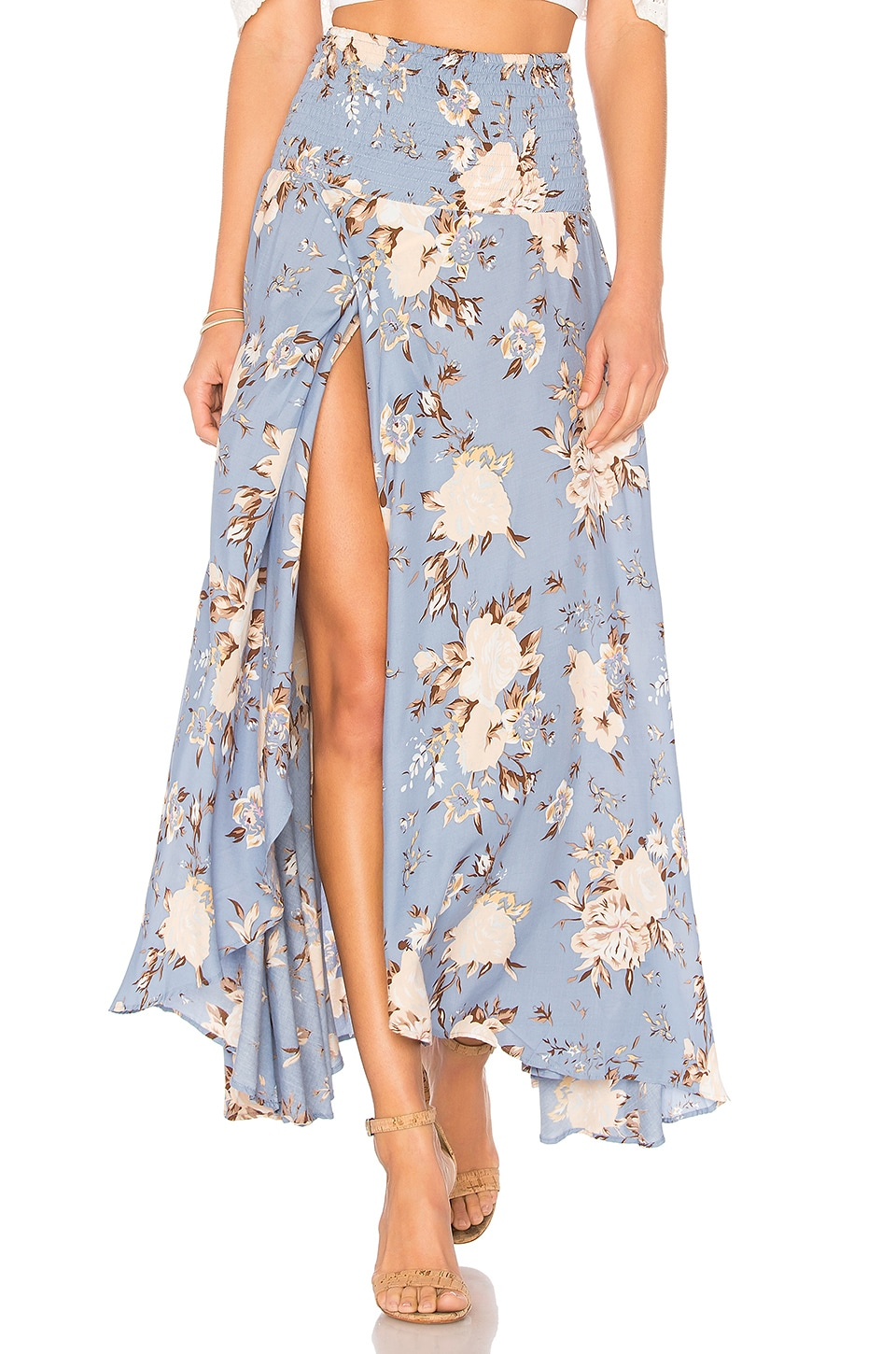 AUGUSTE Shirred Waist Maxi Skirt in Blue Vintage Blooms