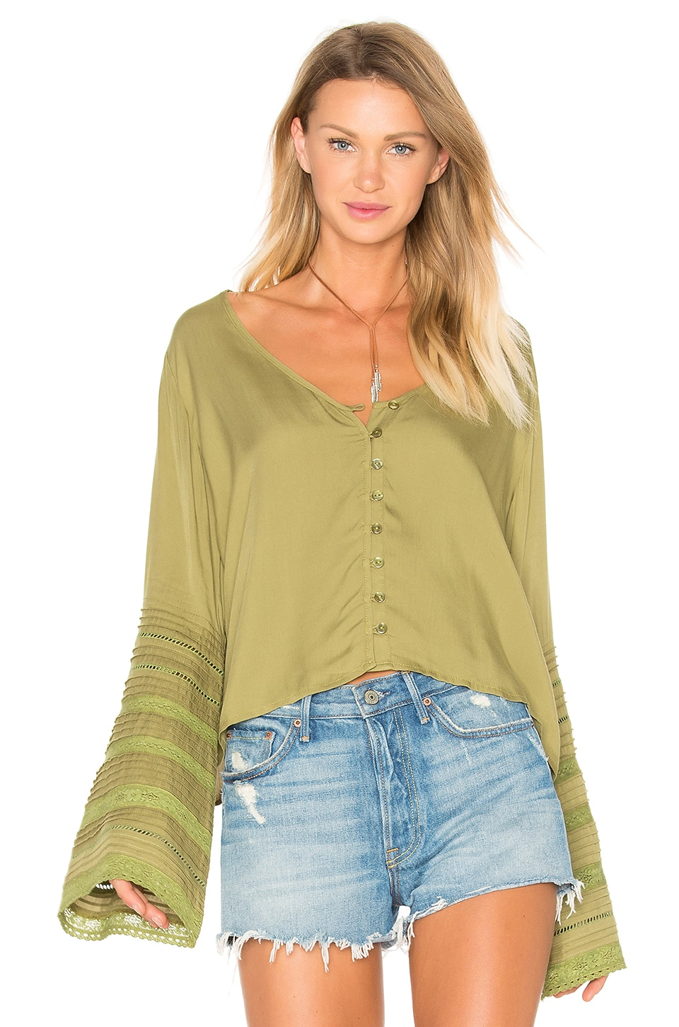 Sandy Days Belled Sleeved Top by AUGUSTE