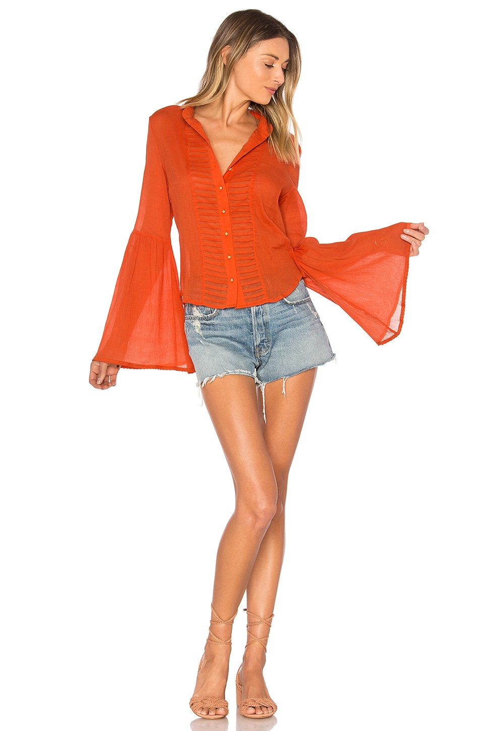 AUGUSTE Old Days Bell Sleeved Shirt in Burnt Orange