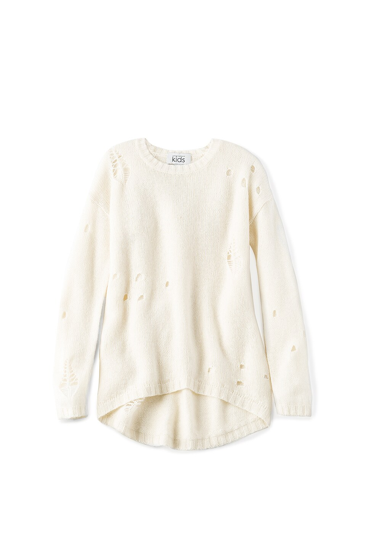 Autumn Cashmere Kids Distressed High Low Sweater in Tofu