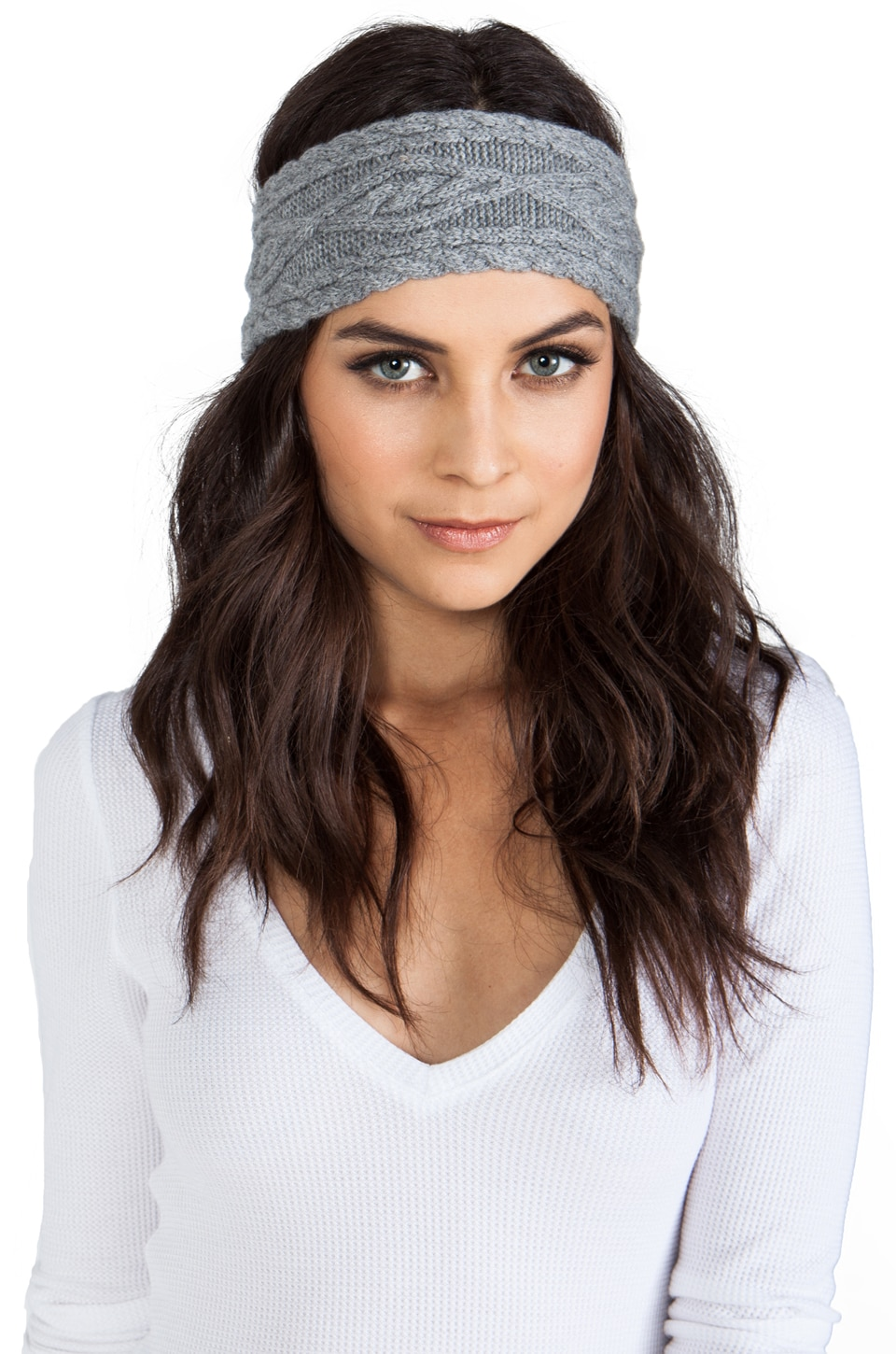 Autumn Cashmere Cable Headband in Cement