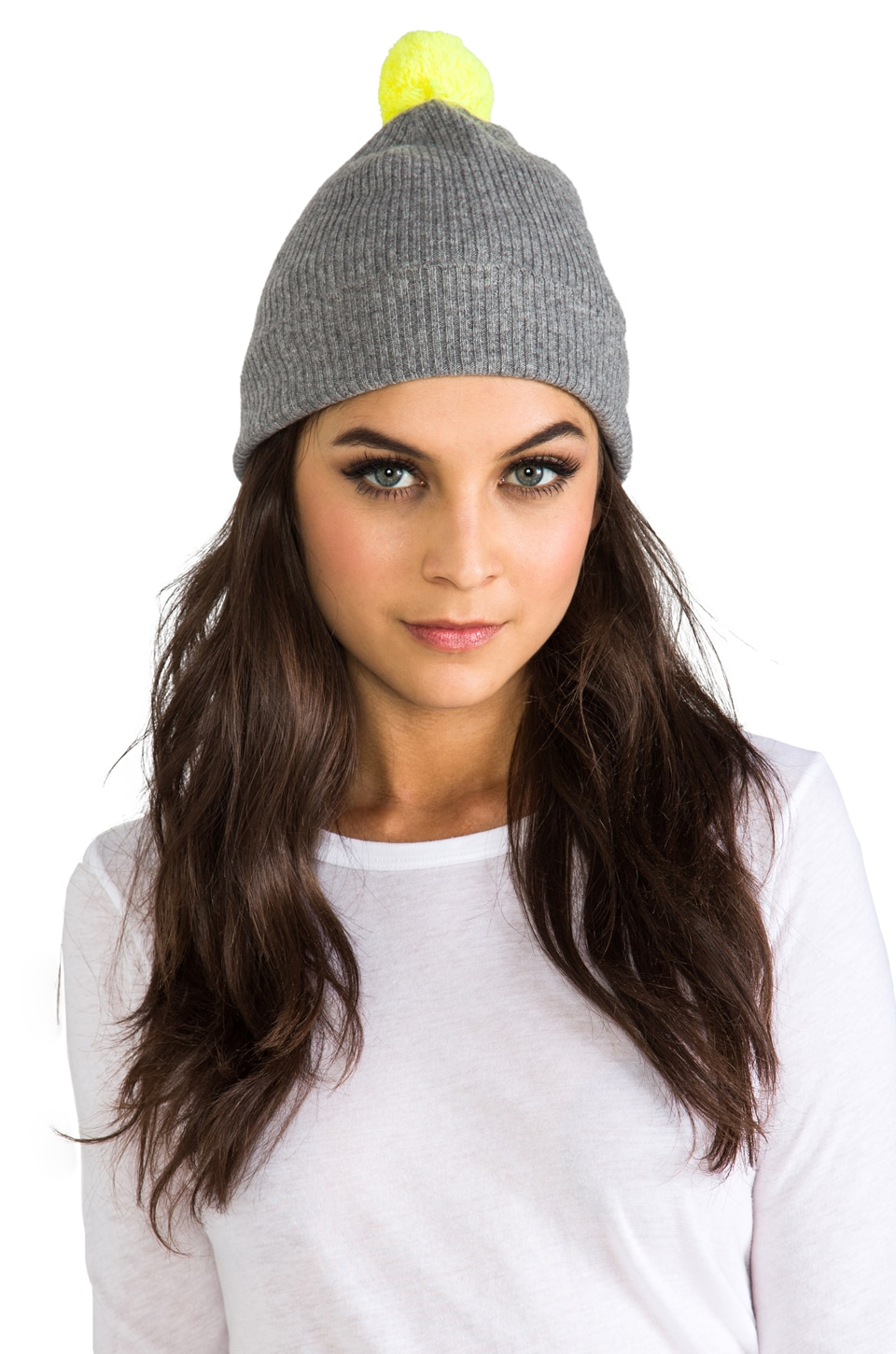 Autumn Cashmere 2 Tone Bag Hat With Pom Pom in Cement/Day Glo
