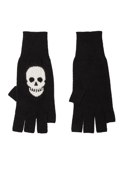 Autumn Cashmere Skull Fingerless Gloves in Black/Winter White