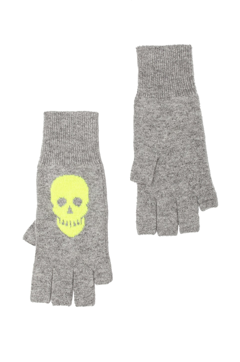 Autumn Cashmere Skull Fingerless Gloves in Cement/Day Glo
