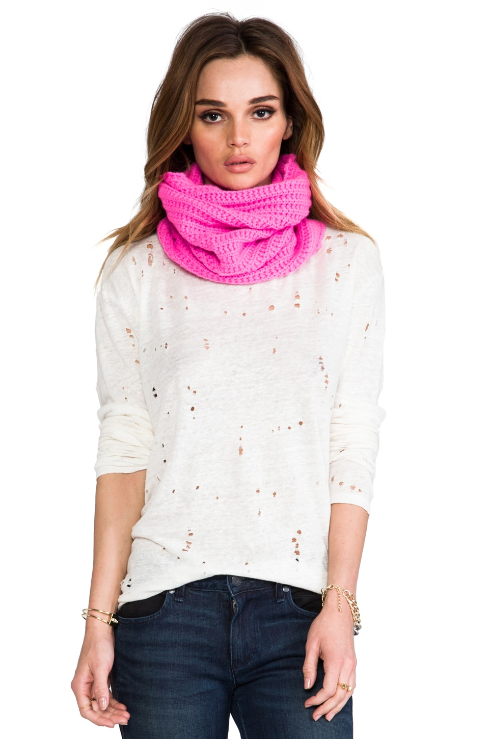 Autumn Cashmere Textured Neckwarmer in Shock