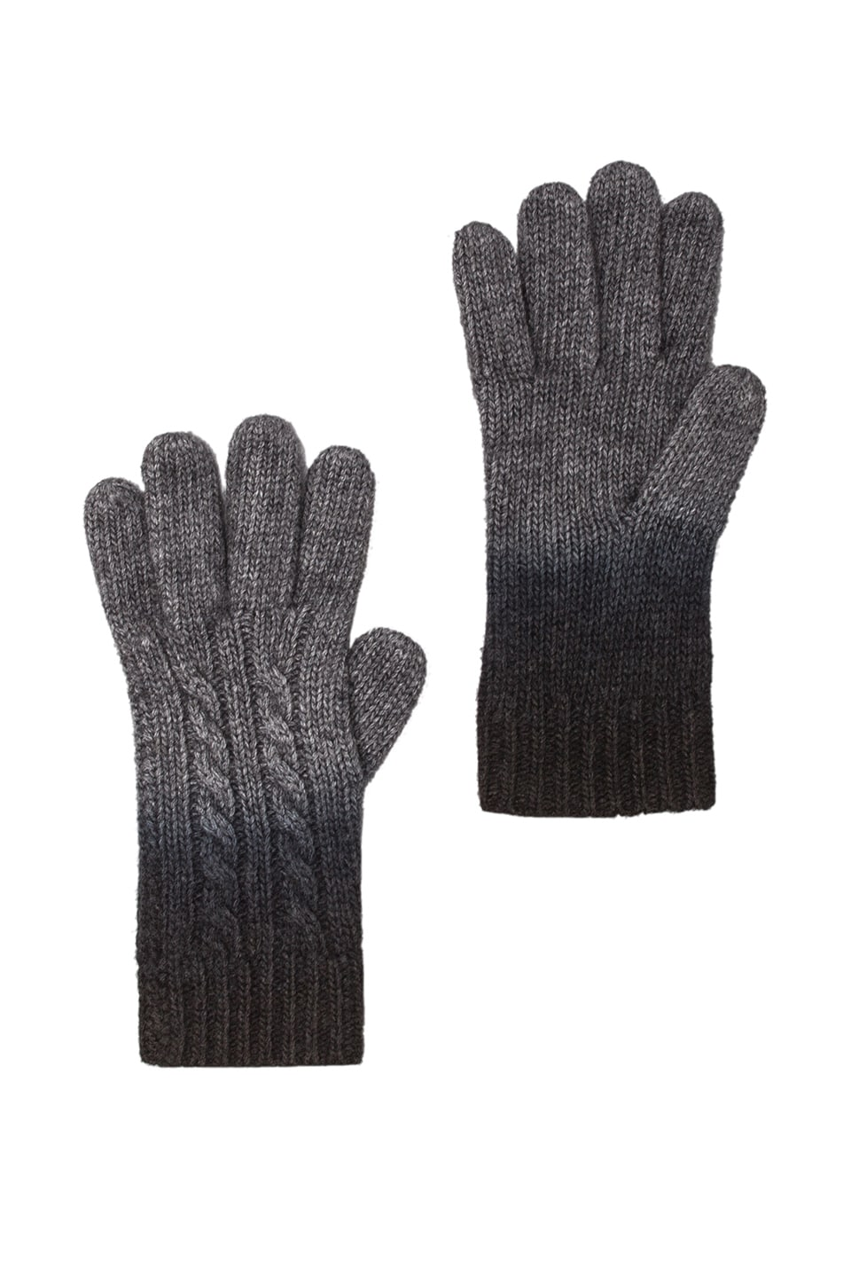 Autumn Cashmere Dip Dye Gloves in Flannel/Ebony