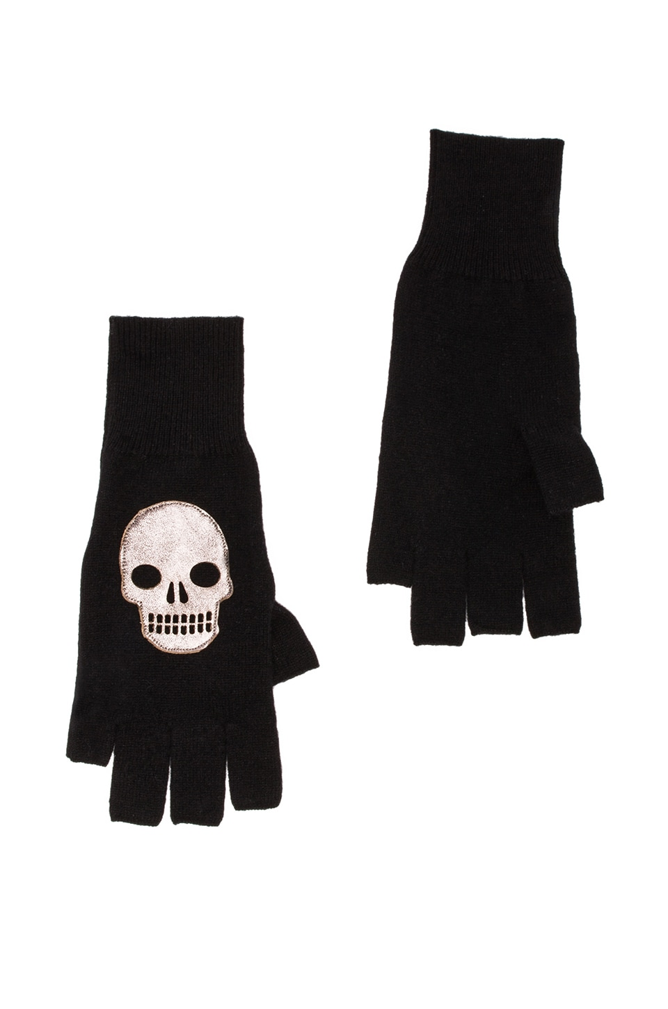 Autumn Cashmere Fingerless Gloves w/ Leather Skull in Black Combo