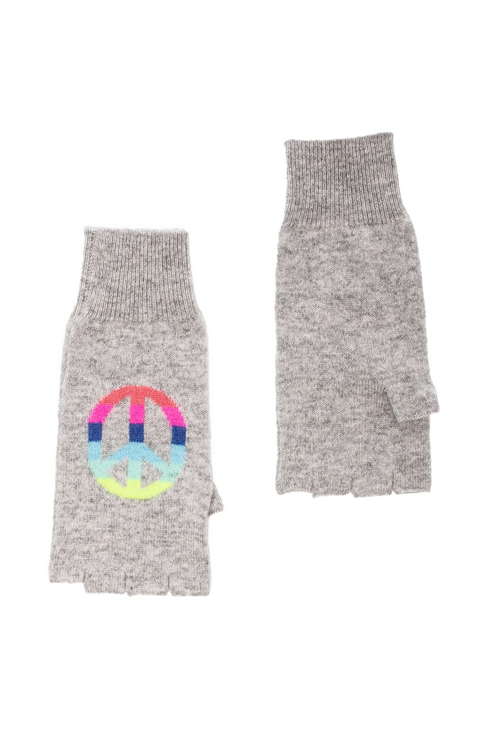 Autumn Cashmere Rainbow Peace Fingerless Gloves in Fog Combo