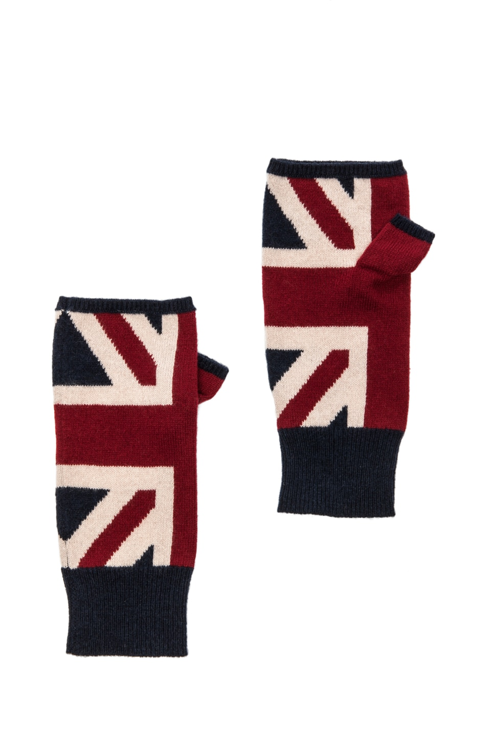 Autumn Cashmere Union Jack Fingerless Gloves in Traditional Combo