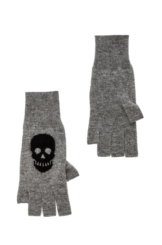 Autumn Cashmere Skull Fingerless Gloves in Cement & Black