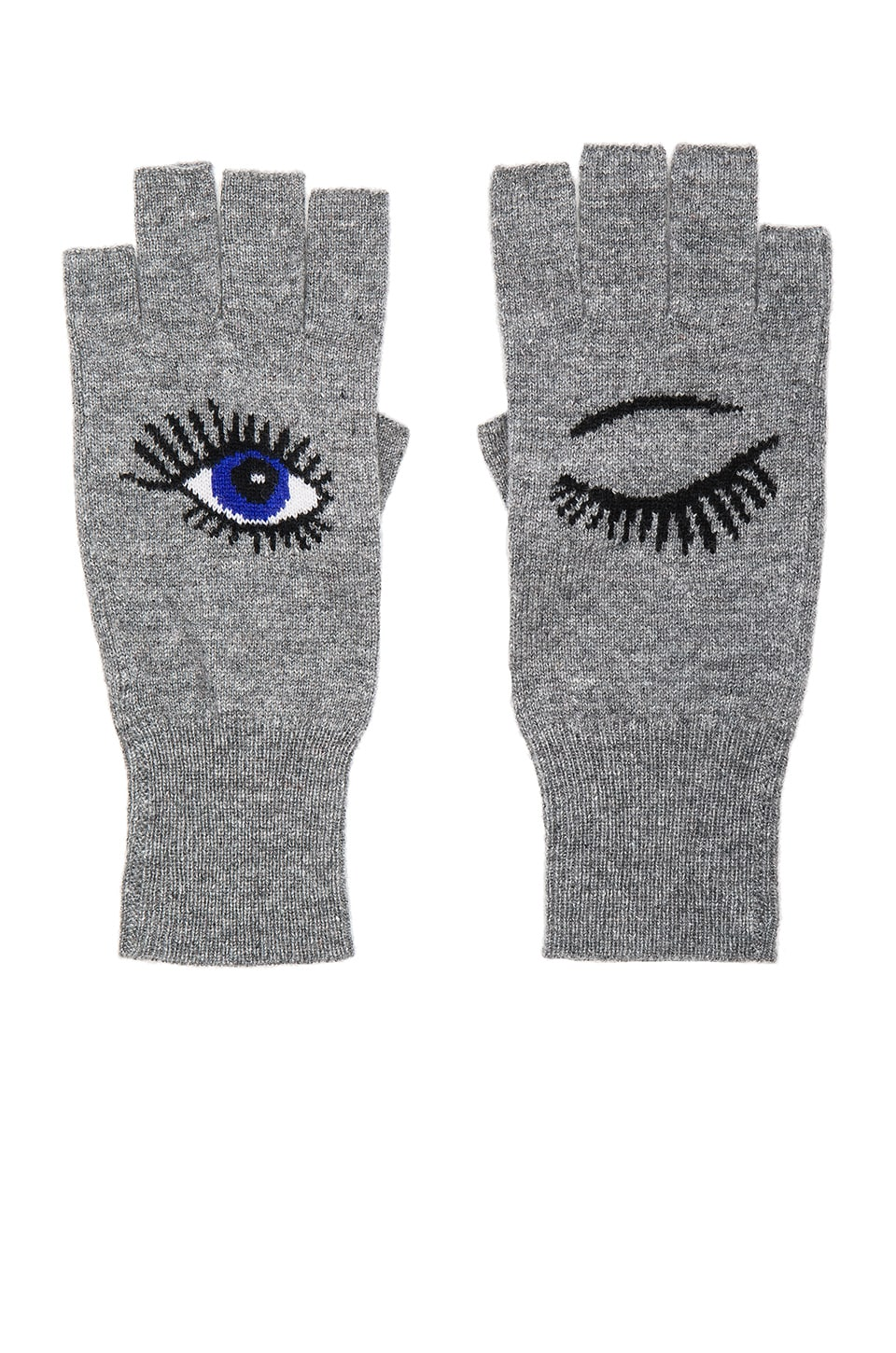 Autumn Cashmere Wink Fingerless Gloves in Cement & Pennant Combo