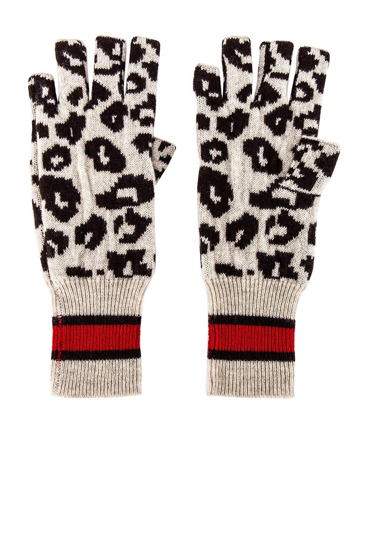 Autumn Cashmere Sporty Athletic Leopard Fingerless Gloves in Mojave, Mocha & Black