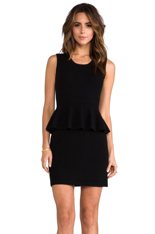 Autumn Cashmere Sleeveless Peplum Patent Dress in Black