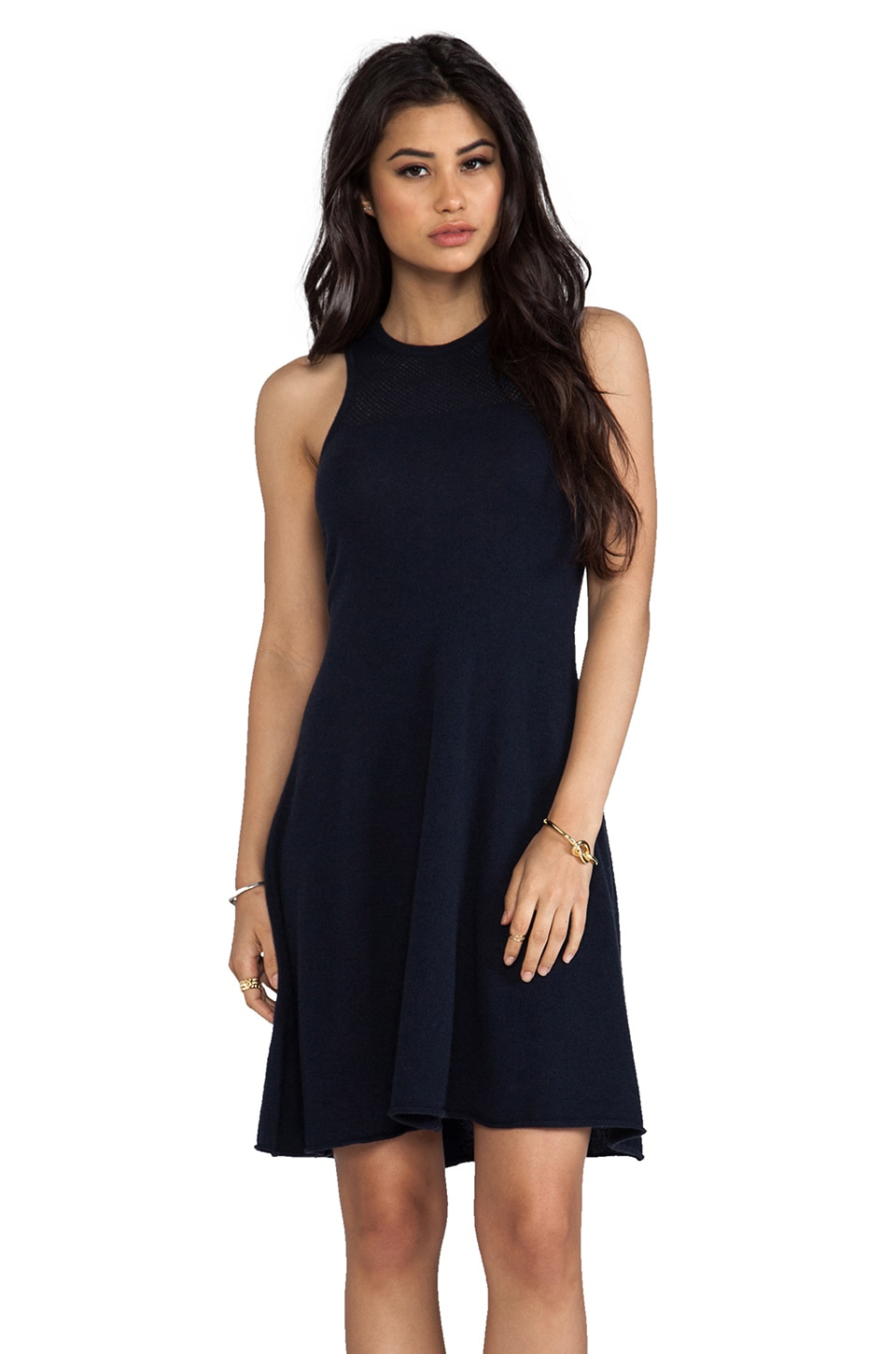 Autumn Cashmere Mesh Flare Dress in Navy