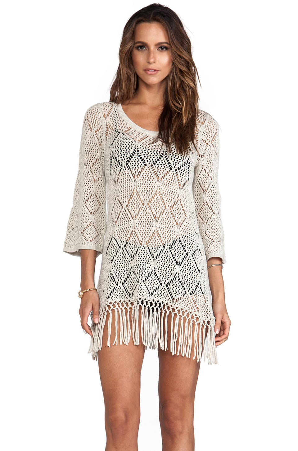Autumn Cashmere Fringe Tunic in Hemp