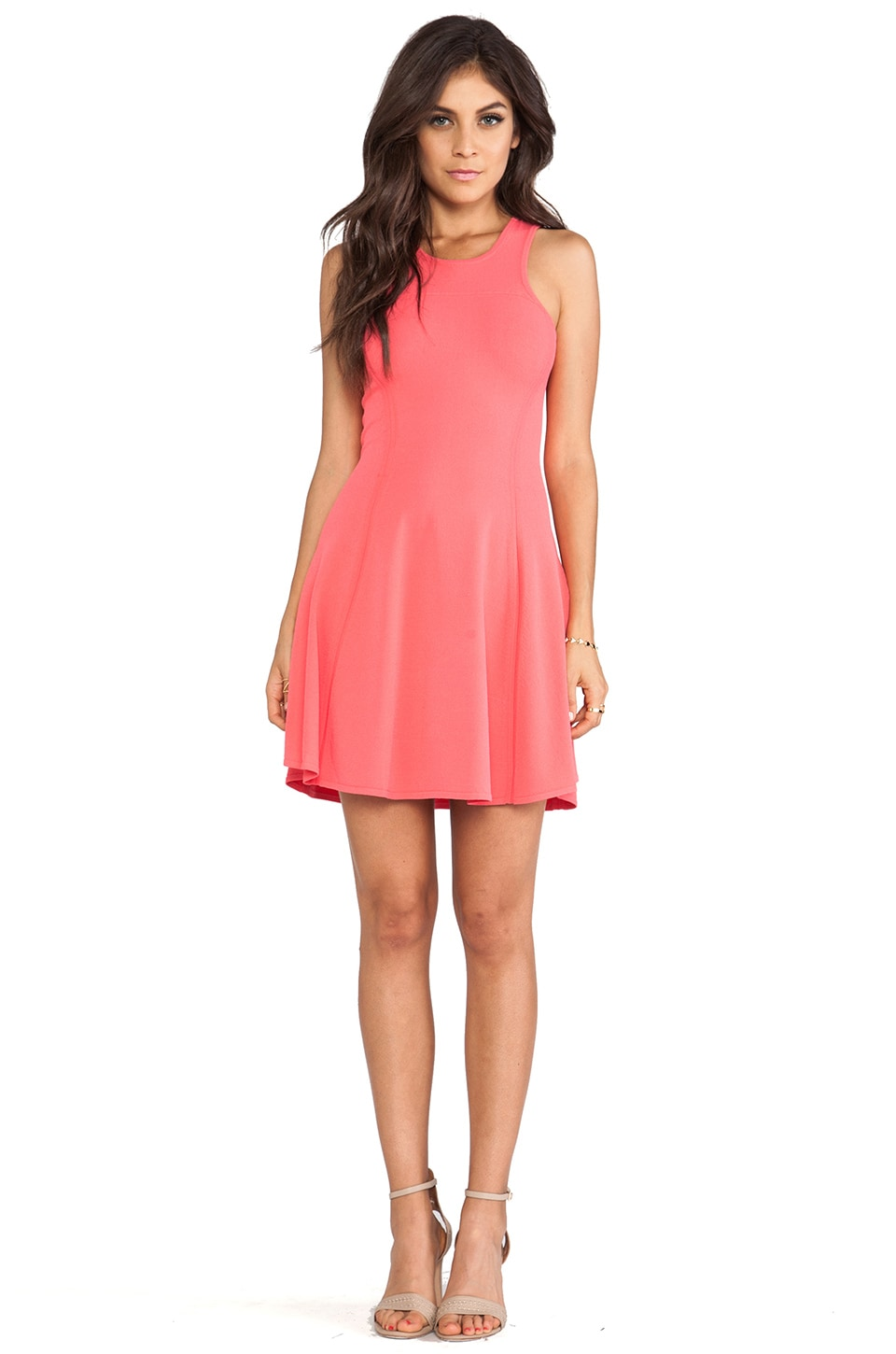 Autumn Cashmere Carved Armhole Fit & Flare Dress in Watermelon
