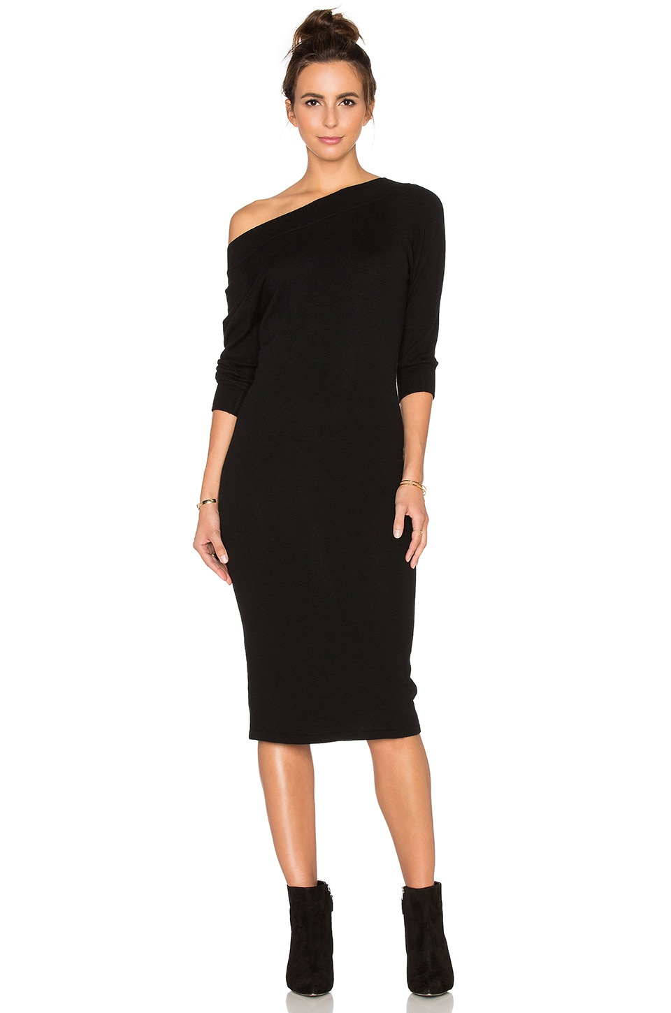 Autumn Cashmere Off Shoulder Sweater Dress in Black | REVOLVE