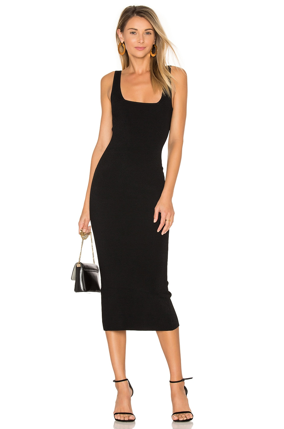 Autumn Cashmere Midi Square Neck Dress in Black