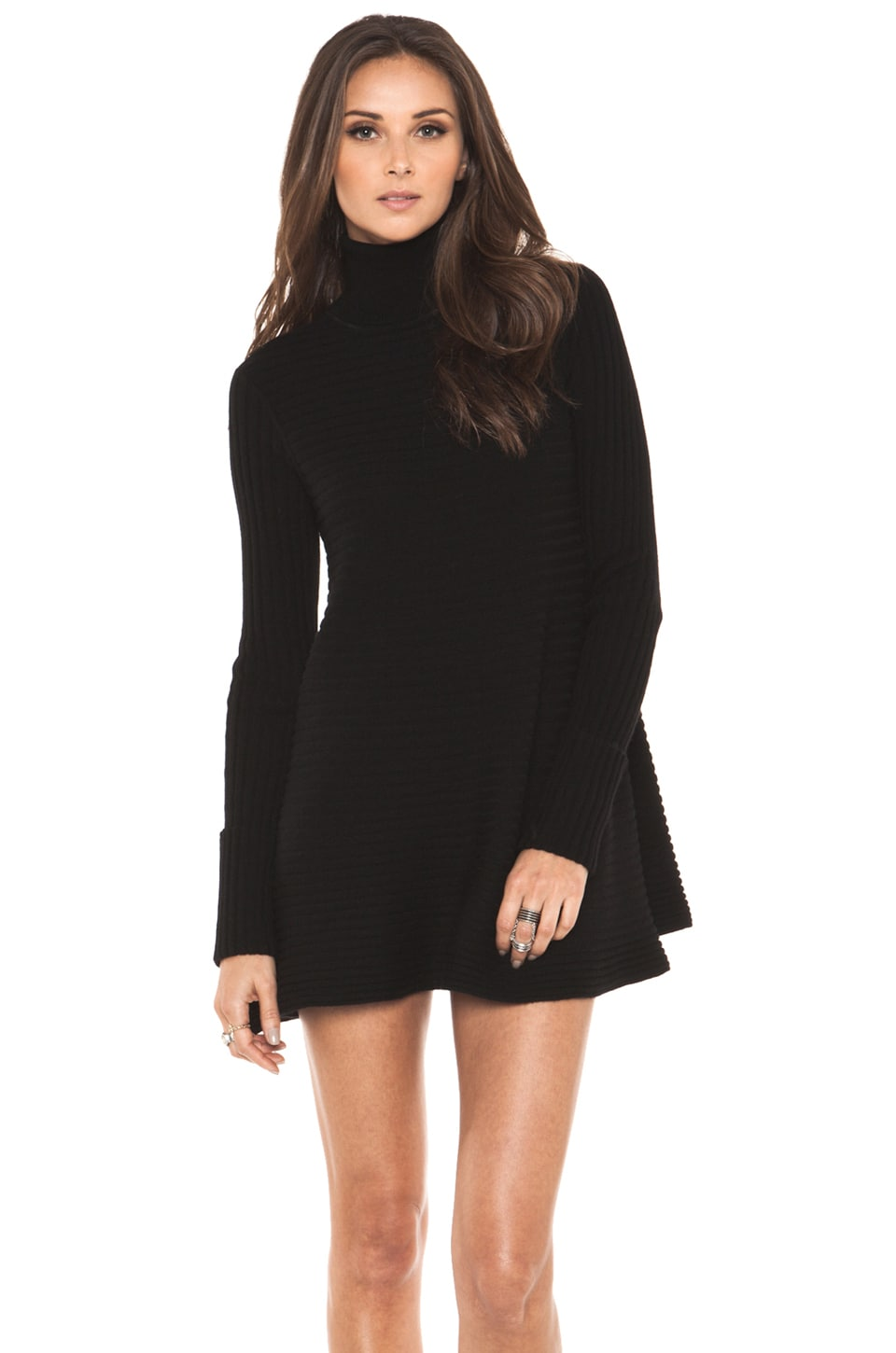 Autumn Cashmere Flared Rib Dress in Black