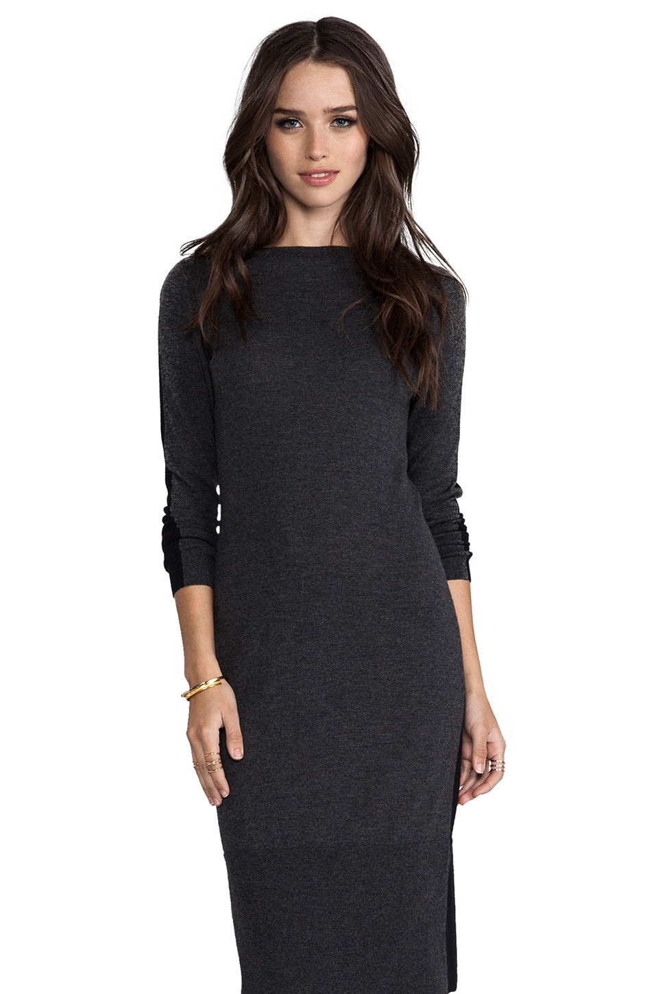Autumn Cashmere Tissue Cashmere Color Block Boatneck Dress in Charcoal/Black
