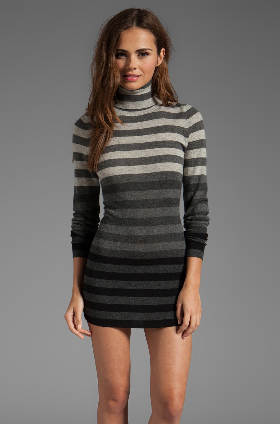 Autumn Cashmere Striped Fitted Tissue Cashmere Turtleneck Tunic Sweater Dresses in Black/Grey Combo