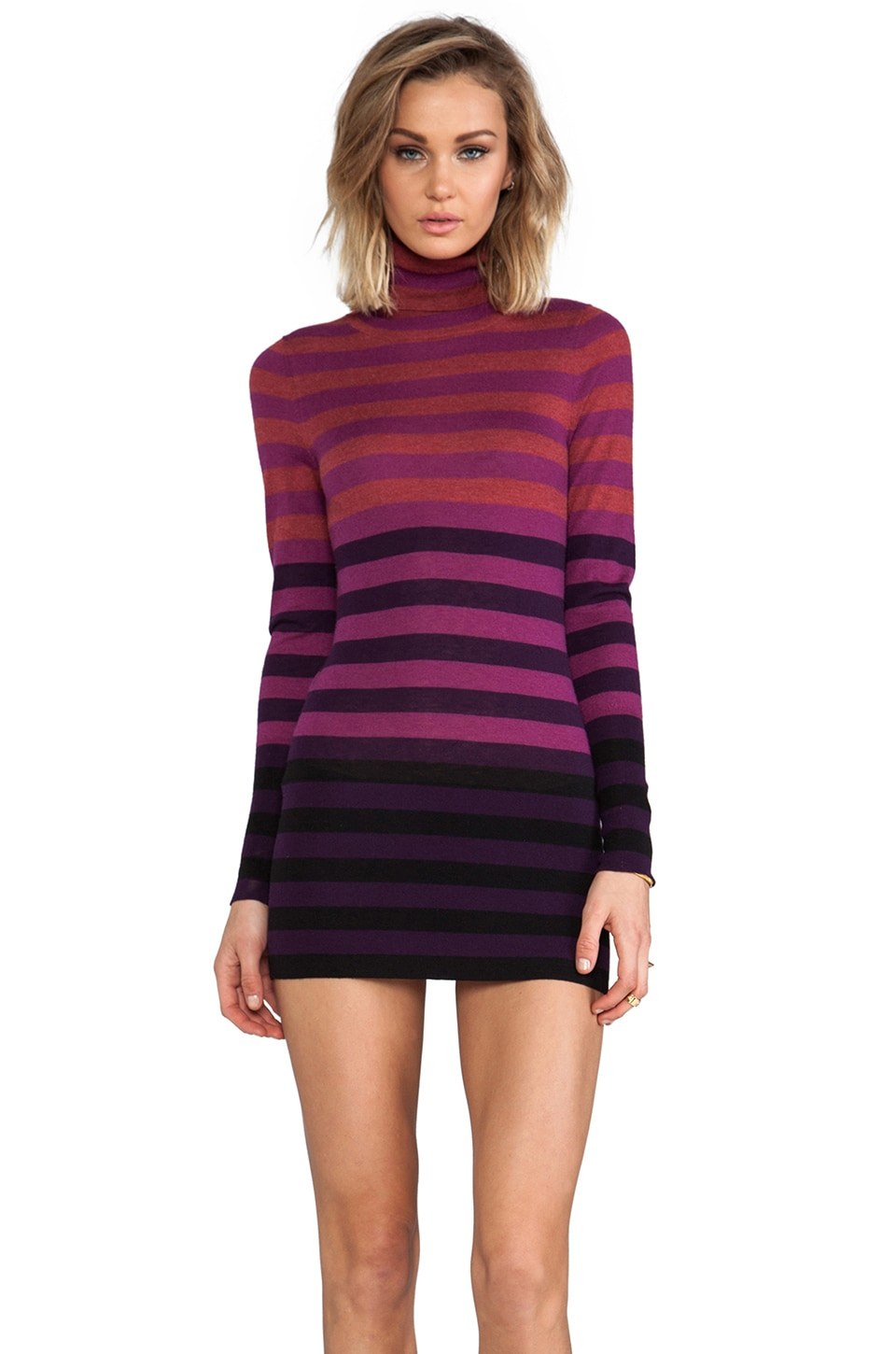 Autumn Cashmere Striped Fitted Tissue Cashmere Turtleneck Tunic Sweater Dresses in Black/Pomegranate Combo